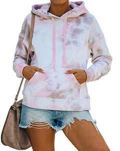 INFITTY Womens Oversized Tie Dye Hoodie Sweatshirts Cute Long Sleeve Shrits Loose Color Block Tops, 3-Pink Gery, XX-Large
