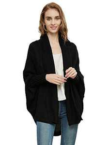Anna-Kaci Women's Batwing Sleeve Knit Wrap Sweater Oversized Open Front Kimono Cardigan Outwear, Black
