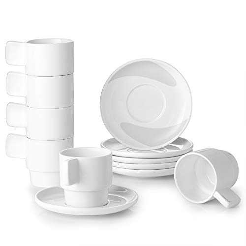 DOWAN Espresso Cups with Saucers, 4 Ounce White Ceramic Stackable Coffee and Tea Cups, Set of 6