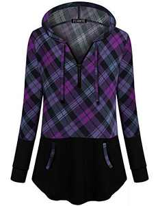 Lightweight Tunic Tops for Women,for Juniors Tops Boutique Clothes Work Casual Active Wear Sweatshirts Colorblock Shirts for Leggings Purple Plaid XL