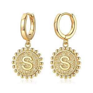 Initial Huggie Hoop Earrings for Women Girls, 925 Sterling Silver Post 14K Gold Plated Letter S Initial Dangle Hoop Earrings Dainty Cute Hypoallergenic Earrings for Women Girls
