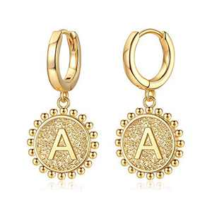 Initial Huggie Hoop Earrings for Women Girls, 925 Sterling Silver Post 14K Gold Plated Letter A Initial Dangle Hoop Earrings Dainty Cute Hypoallergenic Earrings for Women Girls