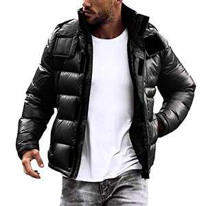 Pretifeel Mens Puffer Down Jacket Waterproof Quilted Removable Hood Stand Collar Winter Thermal Coat Black