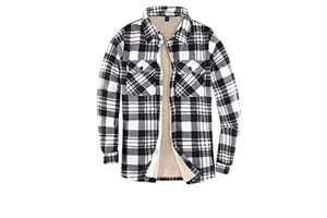 Womens Sherpa Fleece Lined Flannel Shirt Jacket Warm Button Up Plaid Shirt Jac(Sherpa Fleece Throughout)Black/White S