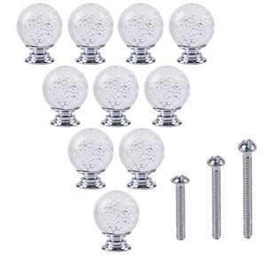 TECKE 10 Pack Crystal Cabinet Knobs for Dresser Drawers Door Pull Furniture Kitchen Drawer Handle Knobs(Transparent)