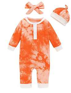 Aslaylme Baby Boys Girls Tie Dye Outfits Unisex Ribbed Long Sleeve Romper (Orange,12-18 Months)