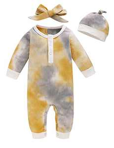 Aslaylme Baby Boys Girls Tie Dye Outfits Unisex Ribbed One Piece Romper Gradient Jumpsuit (Yellow&Grey,6-12 Months)
