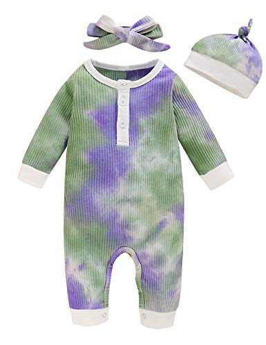 Aslaylme Baby Boys Girls Tie-Dye Outfits Unisex Cotton Long Sleeve Jumpsuit (Purple&Green,12-18 Months)