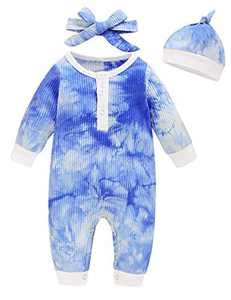Aslaylme Baby Boys Girls Tie Dye Outfits Unisex Ribbed Cotton Romper Jumpsuit (Blue,3-6 Months)