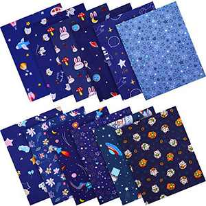 12 Pieces Christmas Blue Color Cotton Fabric Craft Bundle Patchwork 16 x 20 Inch Precut Dark Blue Fat Quarters Christmas Quilting Sewing Patchwork Printed Floral Animal Pattern Fabric for DIY Crafts