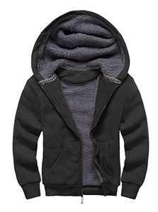 SWISSWELL Boys Fleece Hoodie Full Zip Hooded Sweatshirt with Thick Sherpa Lined (Black,Kids Size 14-15)