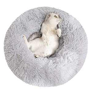 Sorlakar Calming Dog Bed & Cat Bed,24'' Soft Donut Dog Cuddler Bed,Anti-Anxiety Cozy Cat Round Bed for Small Medium Dogs and Cats