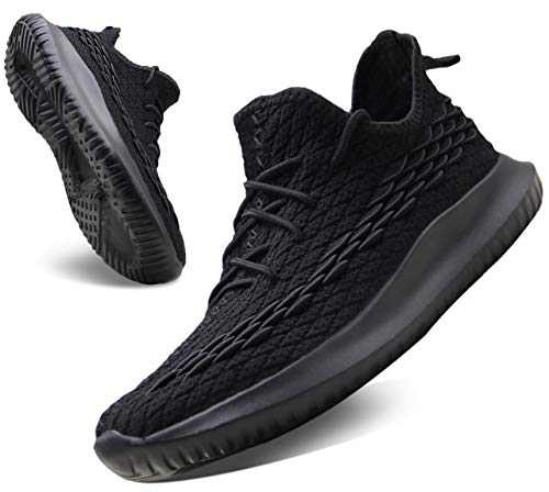 CAMVAVSR Gym Sneakers for Men Squama Mens Walking Shoes Lightweight Breathable Mesh Athletic Sneakers for Young Men Tennis Spring Black Size 12