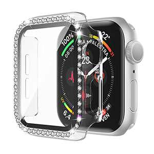Bling Apple Watch Case 42mm Series 3/2/1 with Screen Protector Crystal Diamond Full Cover Apple Watch Protective Case Shock-Proof Resist Bumper Case Cover for Women Girl New Gen iWatch (Clear)