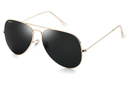 Premium Aviator Sunglasses for Men Women Classic Style Glass Lenses Gold Frame Black Lens
