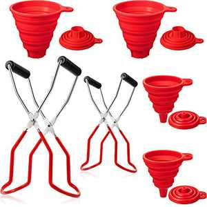 6 Pieces Silicone Collapsible Funnel Set and Canning Jar Lifter, Stainless Steel Jar Lifter Tongs with Grip Handle, Portable Foldable Kitchen Funnel for Liquid Transfer Narrow and Wide Mouth Funnels