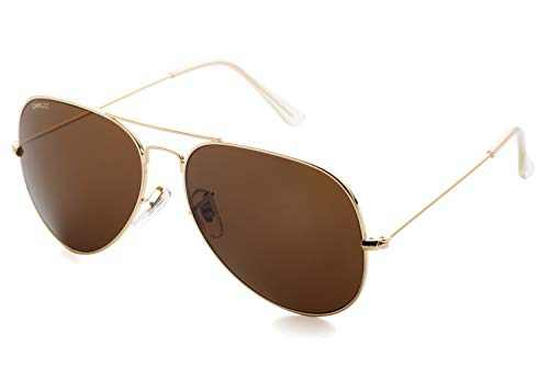 Premium Aviator Sunglasses for Men Women Classic Style Glass Lenses Gold Frame Brown Lens