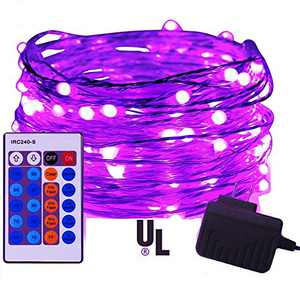 iiEASEST Purple Led Fairy String Lights Halloween Christmas, 100 LED 33 Feet Copper Wire Micro Mini Twinkle Starry Lights with Remote for Tree Bedroom Party Wedding Christmas Halloween Decoration