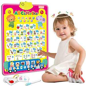 MEckily Electronic Interactive Alphabet Poster Toys for 1-3 Year Old Boys and Girls, Talking ABC, Numbers, Music, Educational Learning Toys for Toddlers, Gifts for Preschool