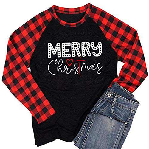 2020 Christmas Shirt Womens Buffalo Plaid Merry Letter Print Short Sleeve Graphic Blouse Tops S-XXL Black