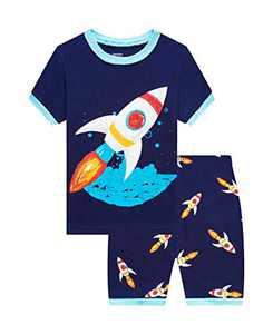 Benaive Pajamas for Boys, Pjs for Boy Cotton Summer Pajama, 2-Piece Children Shorts Set (Rocket, Dark Blue, 12)