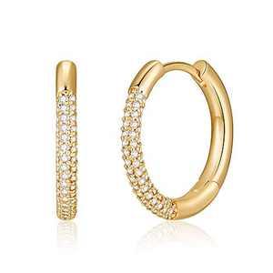 CZ Huggie Hoop Earrings for Women, Hypoallergenic S925 Sterling Silver Post 14K Gold Plated Dainty Huggie Earrings CZ Small Hoop Earrings Jewelry Gifts for Women