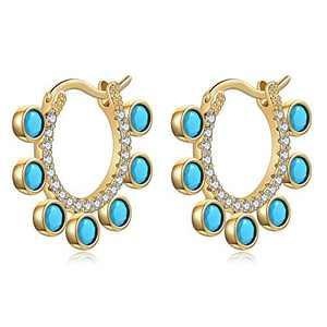 Turquoise Huggie Hoop Earrings for Women, Hypoallergenic S925 Sterling Silver Post 14K Gold Plated Dainty Turquoise Dangle Huggie Earrings Small CZ Hoop Earrings Jewelry Gifts for Women