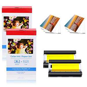 """KCMYTONER 2 Pack Compatible for Canon KP-36IN KP36 One Color Ink Cartridge and 36 Sheets Paper Set 4""""x6"""" 100 x 148mm for Selphy CP1300 CP1200 CP910 CP900 CP760 CP770 CP780 CP800 Wireless Compact Photo"""