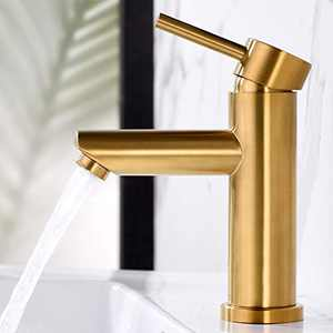 AMAZING FORCE Single Hole Bathroom Faucet Single Handle Bathroom Sink Faucet Brushed Gold Stainless Steel Basin Mixer Tap - Sink Drain & Deck Plate Not Included