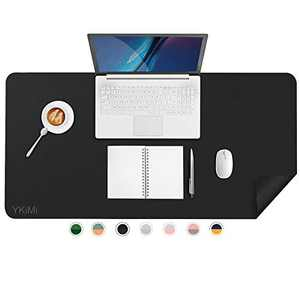 """YKiMi Dual Sided Office Desk Pad,23.6 x 13.7"""" Waterproof Ultra Thin PU Leather Mouse Pad,Desk Blotter Protector,Multifunctional Desk Writing Mat for Office/Home (23.6"""" x 13.7"""", Black)"""