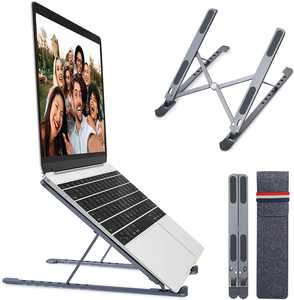 "Laptop Stand, Portable Computer Mount with 8 Levels Height Adjustment, Aluminum Foldable Laptop Riser iPad Tablet Holder for 10-17.3"" Laptops, Supports up to 44lbs"