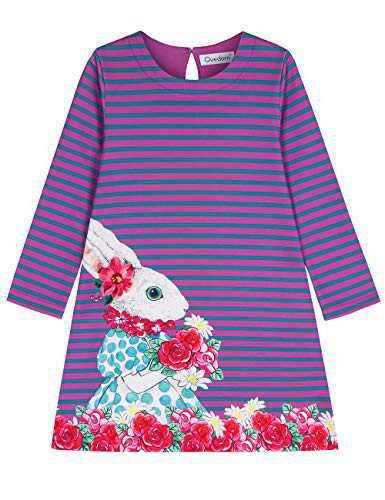 Quedoris Girls Dress Printed Stripe A-line Long Sleeve Casual Dress Miss Rabbit 100Y