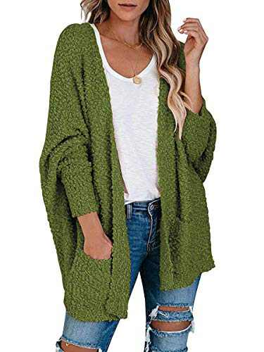 ANRABESS Womens Open Front Fuzzy Cardigan Sweater Batwing Sleeve Loose Knit Popcorn Cloak Outwear with Pockets A230junlv-XL