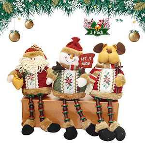 Hsamila Christmas Decorations Sitting Dolls,Long Leg Sitting Santa Claus Snowman Reindeer Doll Christmas Plush Toy Gifts Christmas Ornaments 3 Pack