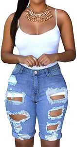onlypuff Rise Waisted Shorts Girls Pockets Denim Shorts Ripped Bermuda Shorts with Hole Light Blue S