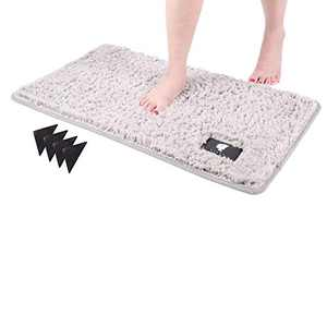 Bath Mats for Bathroom,Bathroom Rugs Non Slip Water Absorbent, 32x20 Inch,Bathroom Mat Machine Washable with 4 Rug Grippers for Indoor, Bath Room, Tub (Light Gray)