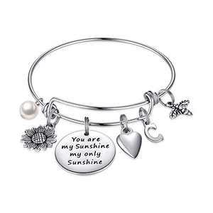 MONOZO Sunflower Bracelet for Women, You are My Sunshine Sunflower Charm Bracelet Stainless Steel Initial Expandable Bangle Bracelet Sunflower Jewelry Gifts for Women Her C