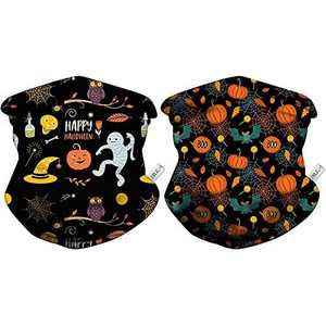 SELENECHEN 2 PCS Kids Gaiter Mask, Kids Neck Gaiter, Halloween Candy Design, Cooling Neck Gaiter Face Mask Bandanas Headband Breathable & Adjustable for Children Teens Headwear (Halloween-Candy)