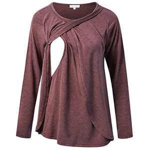 Bhome Long Sleeve Nursing Shirt for Breastfeeding Tunic Tops Burgundy XL