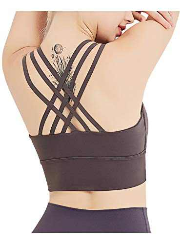Anna-Kaci Womens Strappy Padded Wirefree Yoga Activewear Sports Crisscross Back Bras Top, Ash, Large