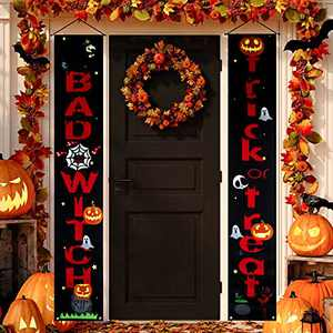 Halloween Decorations Outdoor Trick or Treat & Bad Witches Front Porch Signs For Halloween Home Decor Front Door - Halloween Banners Red Black