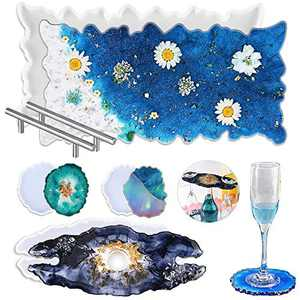 Heflashor Silicone Resin Tray Molds, Geode Agate Platter Molds with 2 Metal Handles, DIY Wine Rack Resin Casting Molds & Coaster Resin Molds for Making Faux Agate Tray Wine Rack Coaster