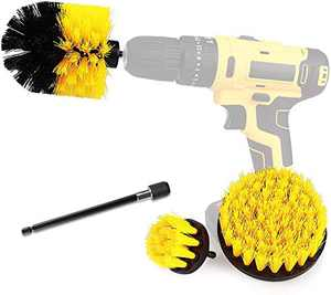 Drill Brush Power Scrubber Brush Cleaning Set 4PCS,Drill Scrub Brushes Kit with Long Attachment,Suitable for Bathroom Surfaces, Tiles, Sinks, Kitchens and Cars Yellow(Drill NOT Included)