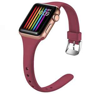 Easuny Sport Band Compatible with Apple Watch Series 6 Band 40mm iWatch Bands for 5 4 SE Women Men, Soft Narrow Silicone Replacement Strap for Apple Watch Band 38mm Series 3 2 1, M/L Wine Red