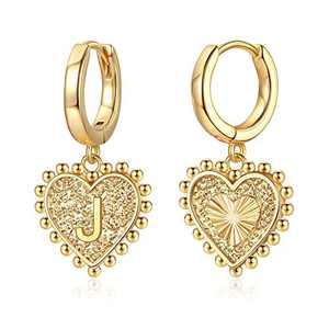 Initial Earrings for Girls Women, S925 Sterling Silver Post Heart Earrings 14k Gold Plated Huggie Hoop Earrings Cute Dainty Gold Letter J Earrings for Girls Kids