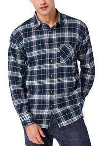 TAPULCO Lightweight Cotton Plaid Shirts for Men, Autumn Full Sleeve Versatile Check Shirt Button Down Soft and Breathable Casual Shirts with Chest Pockets Green X-Large
