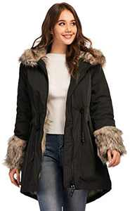 TIENFOOK Womens Parka Jacket Winter Coat with Drawstring Waist Thicken Fur Hood Lined Warm Reversible Design Outwear Jacket (Black, Large)