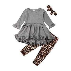 Toddler Baby Girl Solid Ruffled Long Sleeve Skirt Hem Shirt Top Leopard Pants Bow Headband 3Pcs Fall Winter Infants Set (Gray, 12-18 Months)