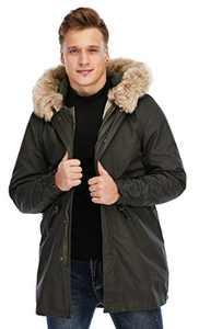 TIENFOOK Men Parka Jacket Winter Coat with Drawstring Waist Thicken Fur Hood Lined Warm Detachable Design Outwear Jacket (Olive, X-Small)