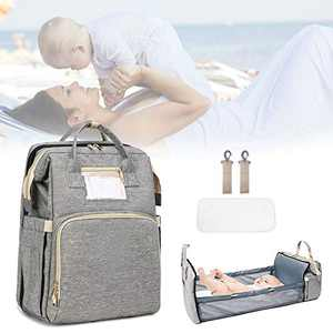 Travel Bassinet Foldable Baby Bed 3 in 1 Diaper Bag Backpack with Changing Station Portable Waterproof Mummy Backpack for Baby Nest with Mattress
